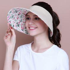 Linen plain sun visor hat for women summer UV wide brim sun hats package