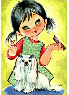 Vintage Spanish Big Eyed Postcard - What a Pretty Dog   Flickr - Photo Sharing!