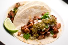 Tacos Al Pastor + Salsa Verde from norecipes.com, which strangely is full of many recipes, all good.