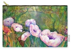 Poppy Flowers Carry-all Pouch featuring the painting White Poppy Flowers at the Pond by Sabina Von Arx Basic Colors, Green Colors, Green Bathroom Decor, Poppy Flowers, Creative Colour, Painting Techniques, Color Show, Pond, Fine Art America