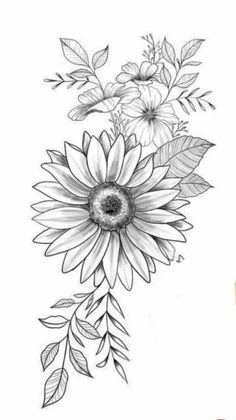 Daisy Flower Tattoos, Sunflower Tattoos, Sunflower Tattoo Design, Flower Tattoo Drawings, Body Art Tattoos, Small Tattoos, Sleeve Tattoos, Hip Tattoos Women, Flower Tattoo Shoulder