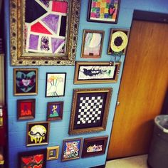 """Our #Art """"Wall of FrAME"""" filled up fast this year! Great job #Highpoint #artists ! (at High Point Elementary)"""