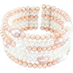 Freshwater Cultured Pink & White Pearl Cuff Bracelet #BettyWhiteJewelers #Houma