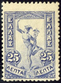 """Old Greek postage stamp, a 25 lepta blue type """"Flying Hermes"""". In the first new definitive issue since the """"Small Hermes"""" was introduced. This 14 stamp issue is known as the """"Flying Hermes"""". Rare Stamps, Old Stamps, Vintage Stamps, Vintage Ephemera, Greece Mythology, Old Greek, Lost Art, Fauna, Mail Art"""