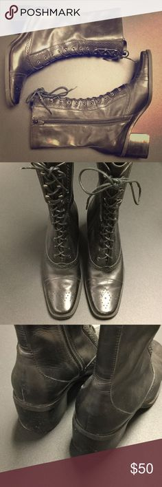 Combat Boots Franco Sarto leather lace ups. Two inch heels. Leather runs 9 inches up leg. Great detail at toes. Gorgeous and different. A great boot in fantastic shape. Worn for half a day. Very comfortable. 10 inches from toe to heel. Franco Sarto Shoes Combat & Moto Boots
