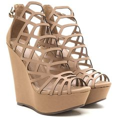 TAN Lattice Dance Cut-Out Wedges ($22) ❤ liked on Polyvore featuring shoes, tan, wedge heel platform shoes, wedges shoes, synthetic shoes, cut out shoes and nubuck leather shoes