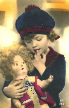 Vintage Postcard ~ Girl w/Doll by chicks57, via Flickr