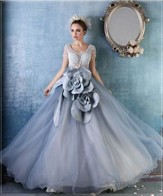 Find More Quinceanera Dresses Information about vestido longo gray Quinceanera dress 2017 scoop crystal flowers short sleeves ball gown tulle debutante dress vestido 15 anos,High Quality dress shoes size 15,China dress c Suppliers, Cheap dress golf from suzhou  helen wedding dress company on Aliexpress.com