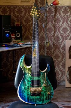 "Negrini Guitars - Liuteria GNG : Morgoth BM7 ""Shiva"" - Custom Inlay with precious materials."