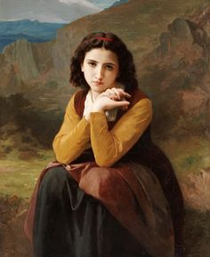 William-Adolphe Bouguereau | Reflective Beauty. Mignon Pensive | Buy Prints Online