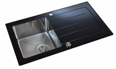 Reversible Black Glass & Steel 1 Bowl Inset Kitchen Sink With Drainer LA012 | eBay