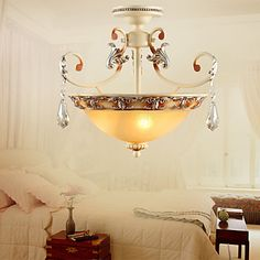 European-Style Traditional 3 Light Chandelier With Crystal Decoration – LightSuperDeal.com