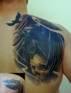 crow tattoos | Shoulder Crow Skull Tattoo by Peter Tattooer