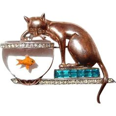Cat Fishing in Jelly Belly Bowl Rare Unsigned Trifari Brooch 1946 - in American Costume Jewelry by Brunialti