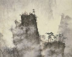 Gorge in clouds  MOUNTAIN LANDSCAPES BY LI HUAYI Ink on paper - 96 x 53 cm - (detail)