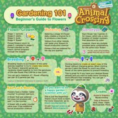 "I made the Visitor Watering graphic that has been making rounds recently. I decided to make ""Gardening Beginner's Guide to Flowers"" as a basic starting point for everyone interested in gardening! Animal Crossing Guide, Animal Crossing Villagers, Animal Crossing Qr Codes Clothes, Animal Games, My Animal, Nintendo Switch, Nintendo 3ds, Ac New Leaf, Motifs Animal"