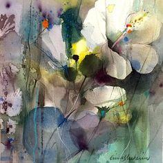 Vit Hibiskus, white Hibiscus, #flower #blomma #hibiscus #akvarell #akvarellmuseet #konstochfolk #watercolor #art #konst #gunnelmoheim #tropical #tropiskt