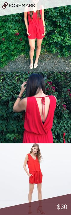 Zara Short Jumpsuit With Bow At Waist Ruby red open-back romper. Drawstring at waist and tie back with gold hardware. Worn only once, purchased in the Zara in Madrid, Spain. Zara Pants Jumpsuits & Rompers