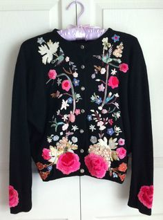 (Could bead embroider on best--leather or fabric) Vintage 1950's HELEN BOND CARRUTHERS Embroidered Cashmere Cardigan Sweater