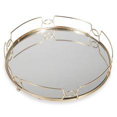 Plateau en métal doré et miroir ÉLÉGANCE
