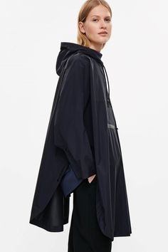 COS image 2 of Oversized poncho jacket in Navy