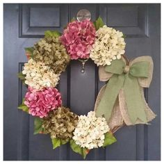spring wreath cream soft cranberry pink and by AutumnWrenDesigns