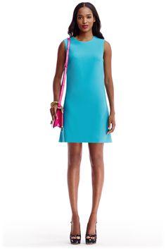 DVF Carrie Ceramic Shift Dress in blue lagoon