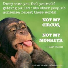 Every time you feel yourself getting pulled into other peoples nonsense, repeat these words: not my circus, not my monkeys! Truly one of my favorite sayings, and I repeat it a lot to myself! Great Quotes, Me Quotes, Funny Quotes, Inspirational Quotes, Drama Quotes, Motivational Pictures, Work Quotes, Random Quotes, People Quotes