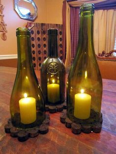 DIY - Wine bottle crafts, lanterns, and cork coasters . Reuse Wine Bottles, Wine Bottle Corks, Glass Bottles, Vodka Bottle, Wine Glass, Wine Craft, Wine Cork Crafts, Wine Bottle Crafts, Decoration Table