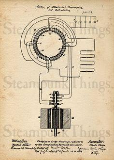 Steampunk Art Nikola Tesla Transformer Patent Drawing 5x7 Photo Print. $10.00, via Etsy.