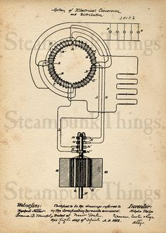 Steampunk Art Nikola Tesla Transformer Patent  Drawing 5x7 Photo Print. $10.00, via Etsy.