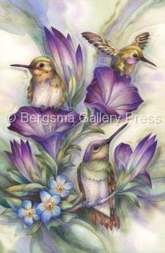 Sweet Little Hummingbirds with Purple Flowers Diamond Painting Kit. by OurCraftAddictions