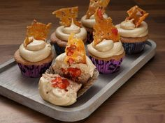 Strawberry Cupcakes with Macerated Strawberries and Peanut Brittle Recipe | Carla Hall | Food Network Peanut Brittle Recipe, Brittle Recipes, Freeze Dried Strawberries, Desserts To Make, Dessert Recipes, Food Network Recipes, Food Processor Recipes, Worst Cooks, Desert Recipes