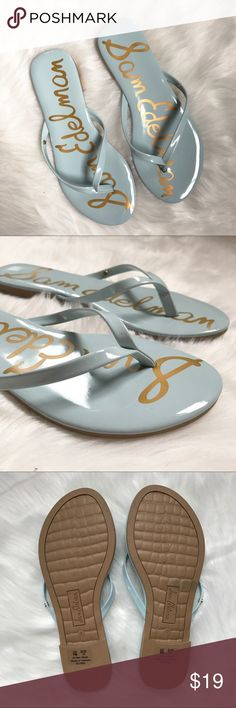 Sam Edelman Light Blue Patent Flip Flops Sam Edelman Light Blue Patent Flip Flops. Oliver. Size 7. Like new condition. Sam Edelman Shoes Sandals