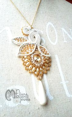 Autumn blossom PENDENT -  SOUTACHE and BEADEMBROIDERY  pendent