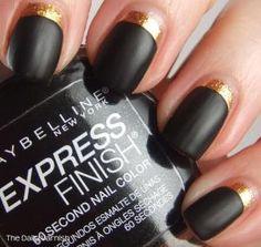 inverse half moon manicure; gold and black matte
