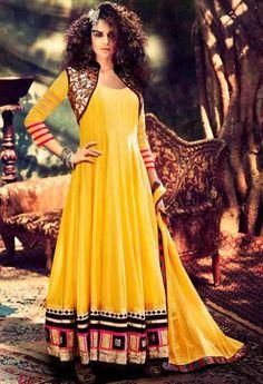 Yellow Georgette Designer Salwar Kameez..@ fashionsbyindia.com #designs #indian #fashion #womens #style #cloths #fashion #stylish #casual #fashionsbyindia #punjabi #suits #wedding #salwar #kameez #chic #outfits #elegance #fantasy #beauty #anarkali