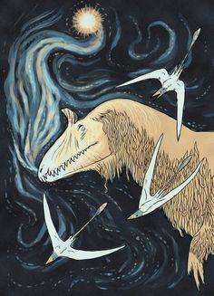 "A shaggy Cryolophosaurus from Antarctica.  -  "" Long Jurassic Nights "" by ~chasmosaur on deviantART"
