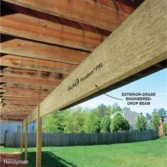 Engineered Lumber for Outoor Use - used as a drop beam, it can cut down on the number of posts needed. Cool Deck, Diy Deck, Island Deck, Deck Footings, Deck Maintenance, Laying Decking, Modern Deck, Deck Posts, Deck Construction