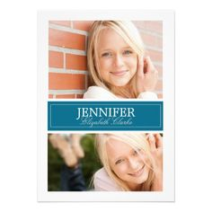 Blue and White Photo Graduation Card by the Antique Chandelier http://www.zazzle.com/blue_and_white_photo_graduation_card-161175475178963560?rf=238589399507967362