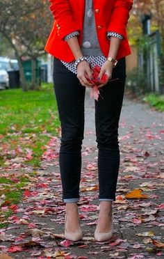 Red Blazer With Pumps And Polka Dotted Shirt