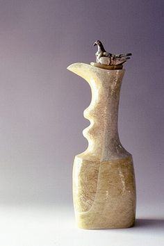 Ceramics by Anna Lambert at Studiopottery.co.uk - Produced in 2004. Tall bottle with pigeons.