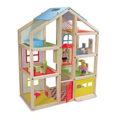Going up? Suitable for all 1:12-scale dolls, our newest play house invites pretend-play families to pull into the garage, ride in the elevator, and feel right at home in this modern home. Fresh, gender-neutral colors and patterns add a lively edge to the natural-wood frame, and open sides make it easy to access every room with ease - so it's easy to share the fun with brothers, sisters, and friends! Comes with three play people and 15 pieces of furniture. Also available: Road Trip! Car &a...