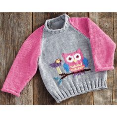 """Mary Maxim - Owl Pullover Sizes 2-6 (24-28.5"""") - Sweaters - Knit & Crochet"""