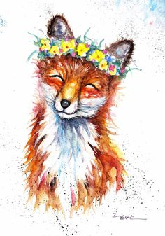Original Watercolour Spring Fox Print by Artist Be Coventry
