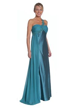 Sweeping change in this one shoulder satin chiffon gown with gathered bust w/ one shoulder decorative sequined flower applique and flyaway chiffon for super elegant appeal.  Style 1090 $98.00