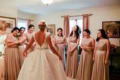 Fairview Farm Events - Virginia Venues -  The bridesmaids first look of the bride