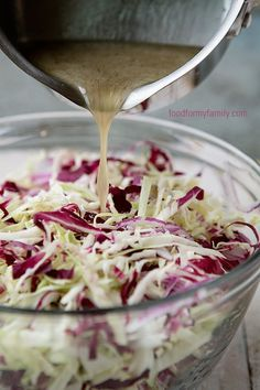 Tangy Coleslaw Dressing via FoodforMyFamily.com: 1/2 cp white vinegar*, 3 tbsp honey, 1/4 cup oil, 1/2 tsp salt, 1/2 tsp dry mustard, 1/2 tsp celery seed