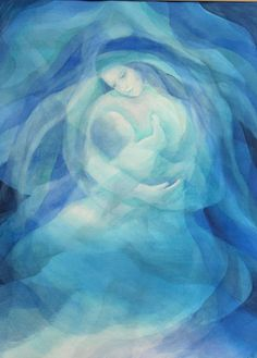 Mother and child prophetic art in blue. Blessed Mother Mary, Divine Mother, Art Prophétique, Painting & Drawing, Watercolor Paintings, Prophetic Art, Mary And Jesus, Madonna And Child, Angel Art