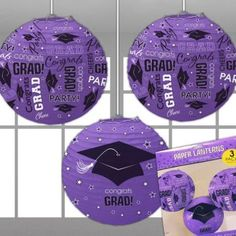If purple was one of the graduate's school colors, you'll have to incorporate these purple grad paper lanterns into your graudation party decor!